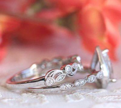 1.82Ct Pear Cut Diamond Bridal Wedding Matching 2 Ring Set 925 Sterling Silver