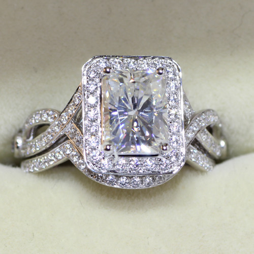 Huge 2.17Ct Radiant Cut Diamond Wedding Engagement Ring Set 925 Sterling Silver
