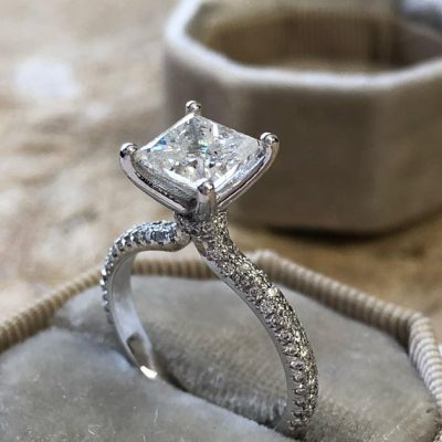 Forever 2.40Ct Princess Cut Diamond Solitaire Engagement Ring 925 Sterling Silver