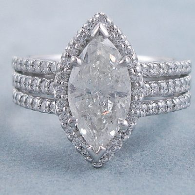 Unique 2.35Ct Marquise Cut Diamond Wedding Engagement Ring 925 Sterling Silver