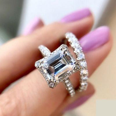 Forever 2.12Ct Emerald Cut Brilliant Diamond Luxury Bridal Wedding Ring 925 Sterling Silver