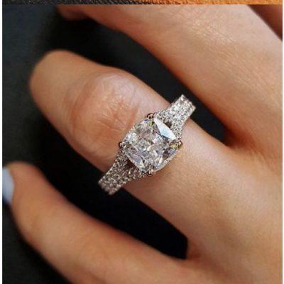 Unique 1.90Ct Cushion Cut Diamond Engagement Wedding Ring 925 Sterling Silver