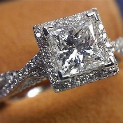 1.55Ct Forever Princess Diamond Halo Engagement & Promise Ring 925 Sterling Silver