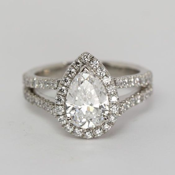 Fancy 1.88Ct Pear Cut Diamond Split Shank Halo Engagement Ring 925 sterling Silver