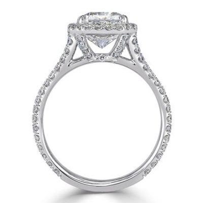 Unique 1.88Ct Excellent Radiant Cut Diamond Engagement Wedding Ring 925 Sterling Silver