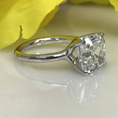 3.CT Brilliant Asscher Cut Diamond Luxury Engagement Ring Solid 925 Sterling Silver