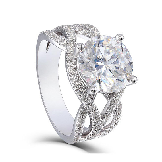 Unique 1.75 Ct White Solitaire Moissanite Bridal Wedding Ring 925 Sterling Silver