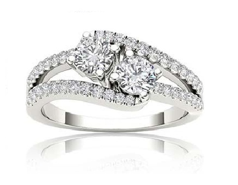 1.75Ct Real Round Cut Moissanite 2 Stone Engagement Ring 925 Sterling Silver