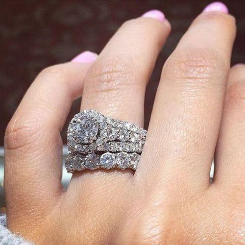 1.25 Ct Center White Moissanite Wedding Ring & Eternity Band Set 925 Sterling Silver