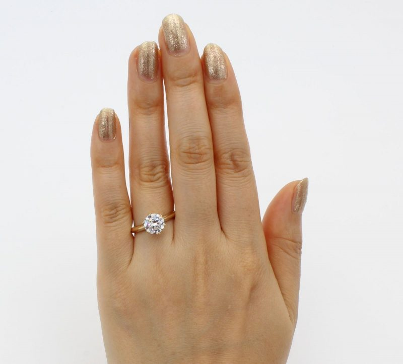 Simple 1.50Ct Round Cut Moissanite Solitaire Engagement & Promise Ring Solid 14k Yellow Gold