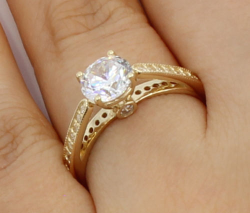 Unique 1.63Ct Round Cut Moissanite Solitaire Engagement Wedding Ring Solid 14k Yellow Gold