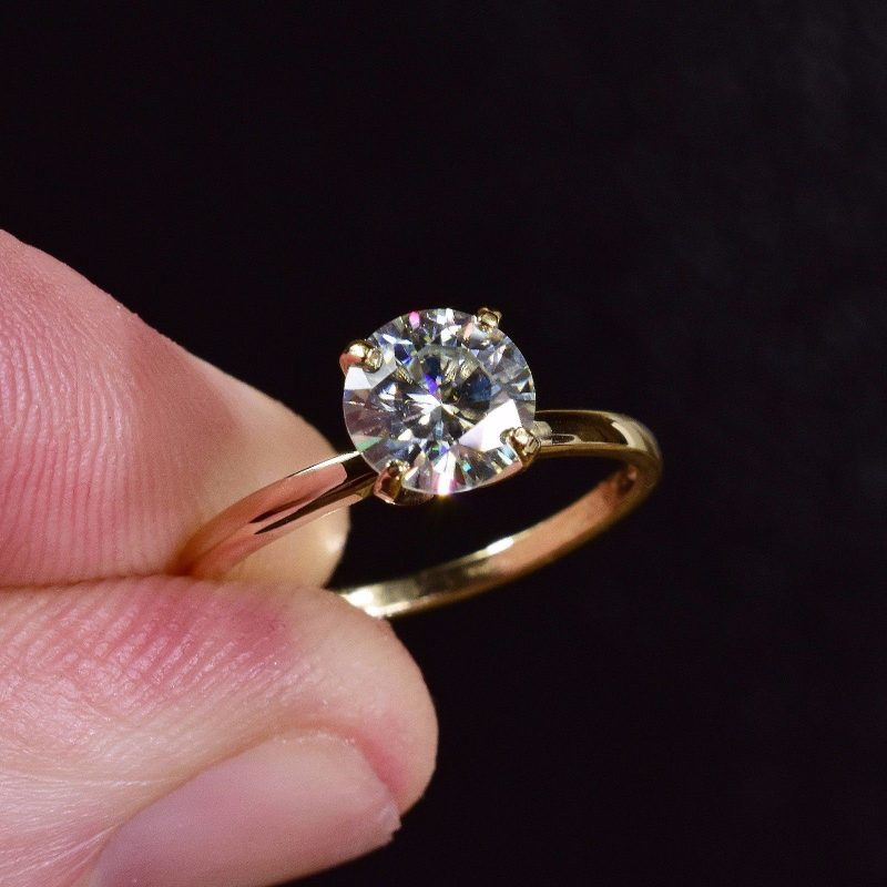 2.00ct Round Certified Real White Moissanite Brilliant Engagement Ring Solid 14k Yellow Gold