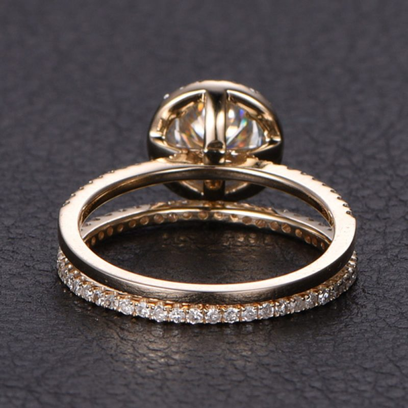 1.88ct Brilliant Cut White Moissanite Luxury Bridal Wedding Ring Set Solid 14k Yellow Gold
