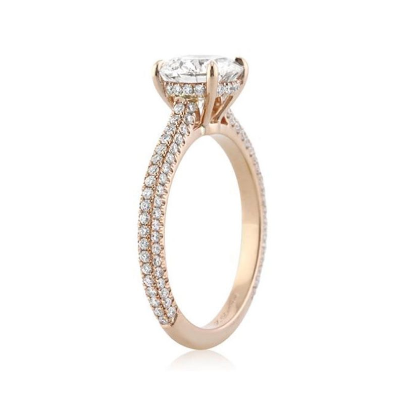 1.52Ct Brilliant White Moissanite Micro Pave Diamond Wedding Ring Solid 14k Yellow Gold