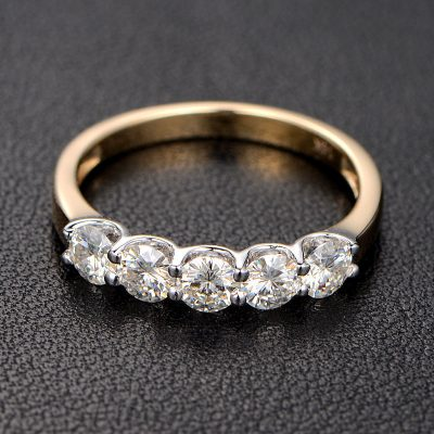 Forever 5 Stone Brilliant 2.Ct Moissanite Engagement & Promise Ring Solid 14k Yellow Gold