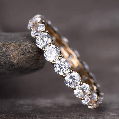 2.Ct Brilliant Cut Moissanite Engagement Wedding Band Ring Solid 14k Rose Gold