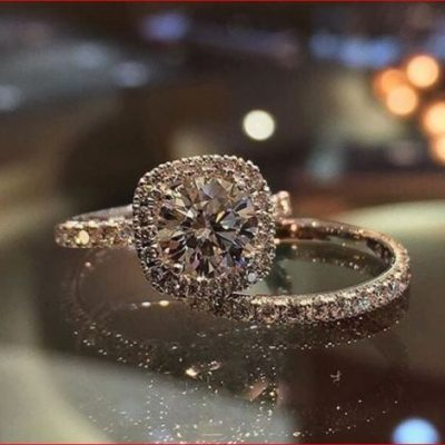 Unique 1.65Ct Round Moissanite Halo Engagement Ring Band Set Solid 14k Rose Gold