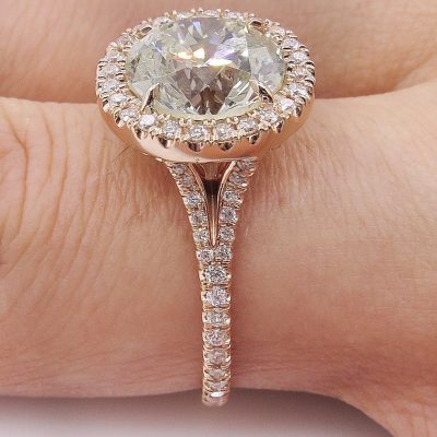 Antique 1.50Ct Round Moissanite Halo Wedding Engagement Ring 14k Rose Gold