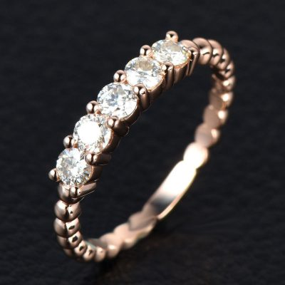 2.10Ct Brilliant 5 Stone Moissanite Engagement Ring & Promise Ring Solid 14k Rose Gold