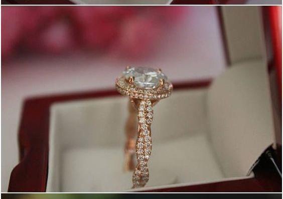 1.62Ct Off White Moissanite Beautiful Bridal Wedding Ring Solid 14k Rose Gold