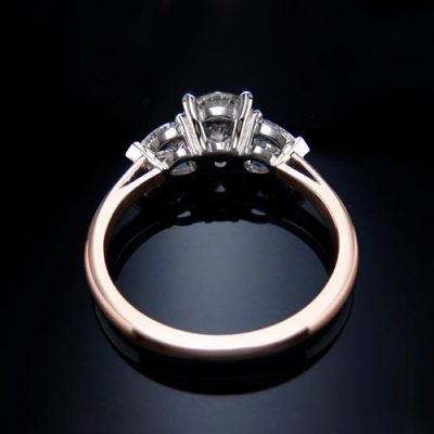 1.45Ct Center Round Moissanite & Side Marquise Diamond Engagement Ring Solid 14k Rose gold