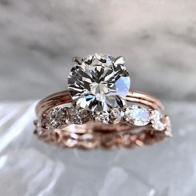 2.15Ct Brilliant Real Moissanite Solitaire Engagement Ring Set Solid 14k Rose Gold