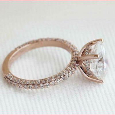1.55Ct White Moissanite Diamond Engagement Wedding Ring Solid In 14k Rose Gold