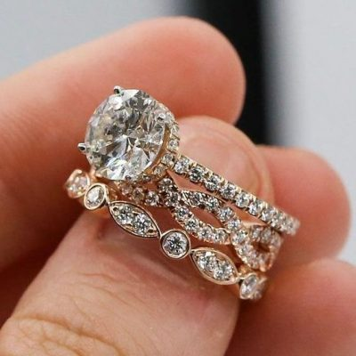 1.58CT Real Round Moissanite Engagement Wedding Ring 3 Ring Set Solid 14k Yellow Gold