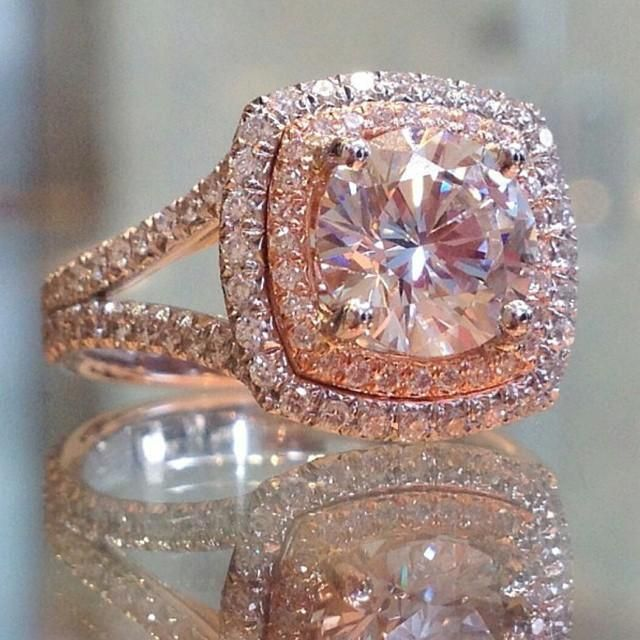 1.50Ct Brilliant Real Moissanite Double Halo Wedding Engagement Ring In Solid 14k Rose Gold