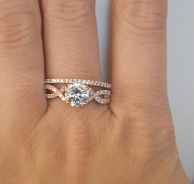 1.60Ct Real Round White Moissanite Engagement Ring & Fancy Band Set Solid 14k Rose Gold
