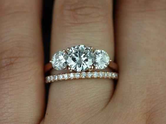 1.88Ct Round Moissanite 3 Stone Wedding Ring & Matching Band Set Solid 14k Rose Gold