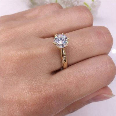 1.42Ct Round Cut Moissanite Solitaire Engagement Wedding Ring Solid 14k Yellow Gold