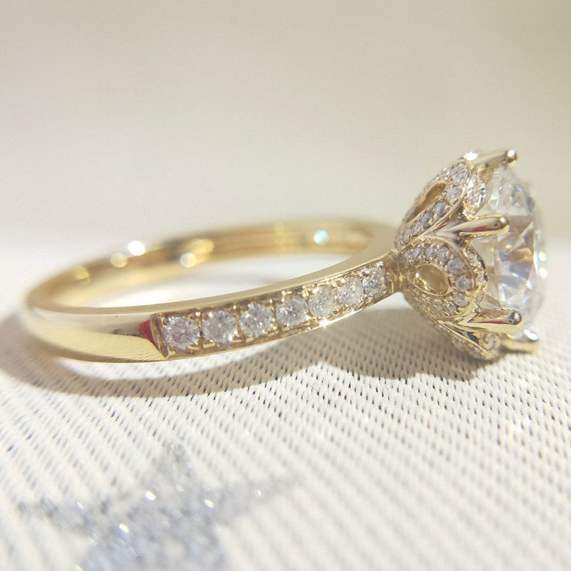 2.Ct Brilliant Real Certified Moissanite Engagement Ring Sold 14k Yellow Gold