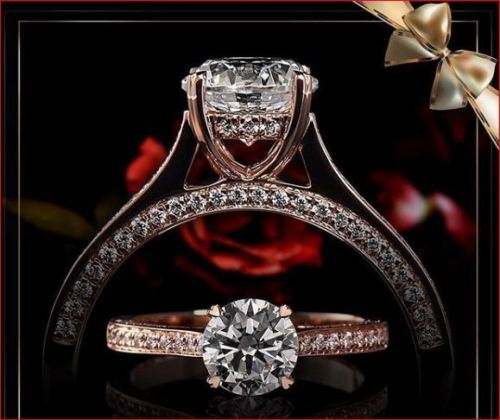 1.45Ct Brilliant Cut Round Moissanite Wedding Engagement Ring Solid 14k Rose Gold