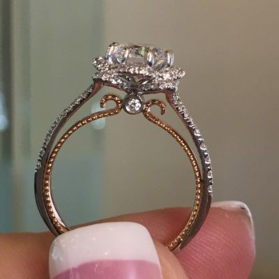 Antique 1.50Ct Round Cut White Moissanite Diamond Engagement Ring Solid 14k Rose Gold