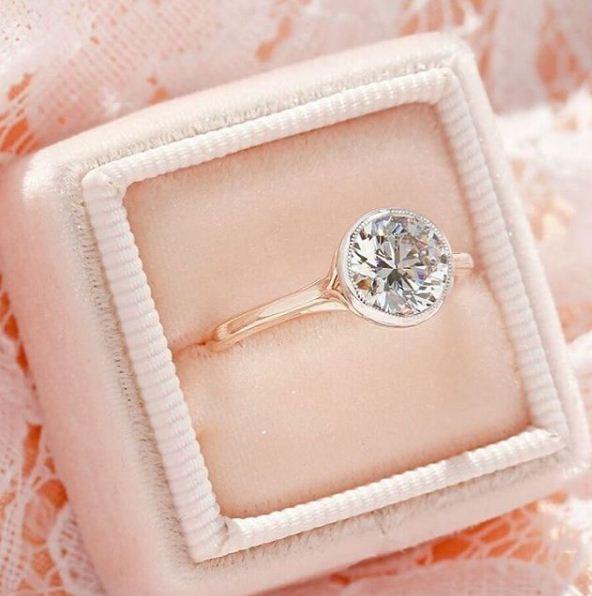 Bezel Style 1.50Ct Brilliant Moissanite Engagement & Promise Ring Solid 14k Rose Gold