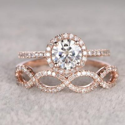 1.50Ct Round Cut Moissanite Engagement Ring & Twisted Band Set Solid 14k Rose Gold