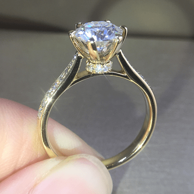 Forever 1.88Ct Brilliant Real Moissanite Solitaire Engagement Ring Solid 14k Yellow Gold