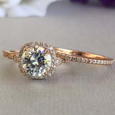 1.55Ct Round Cut Moissanite Diamond Engagement Wedding Ring Set Solid 14k Rose Gold