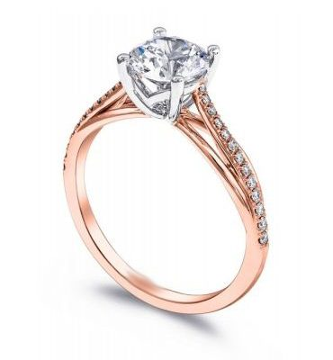 Classic 1.40Ct Real Round Moissanite Engagement & Promise Ring Solid 14k Rose Gold