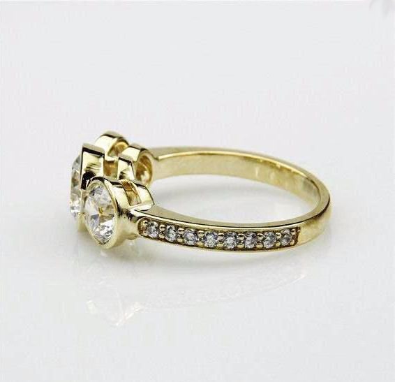 Forever 1.80Ct Bezel 3-Stone Round Moissanite Diamond Engagement Ring Solid 14k Yellow Gold