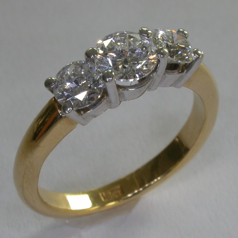 14k Yellow Gold 3 Stone White Moissanite Diamond 2.Ct Engagement Ring Solid