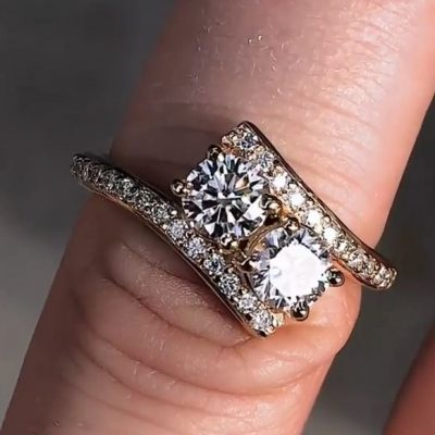 1.70Ct Forever Round Moissanite 2 Stone Engagement Wedding Ring Solid 14k Yellow Gold
