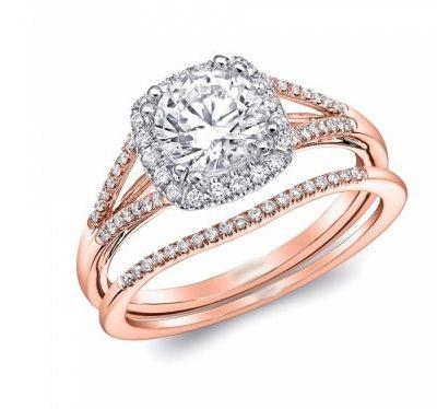 1.40Ct Round Cut Moissanite Split Shank Engagement Wedding Ring Set Solid 14k Rose Gold