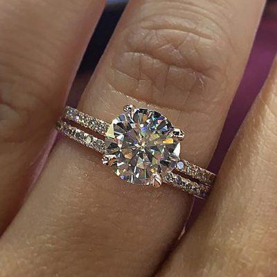 Unique 1.50Ct Round Cut White Moissanite Halo Diamond Wedding Ring Solid 14k Rose Gold