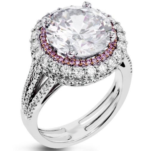 Unique 1.88Ct Round White Moissanite Wedding Engagement Ring In 14k White Gold