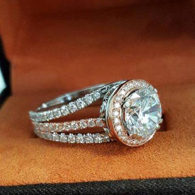 2.Ct Round White Moissanite Triple Shank & Halo Diamond Engagement Ring 14k White Gold