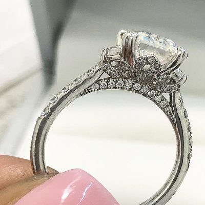 2Ct Solitaire Round Moissanite & Side Stone Engagement Promise Ring In 14k White Gold