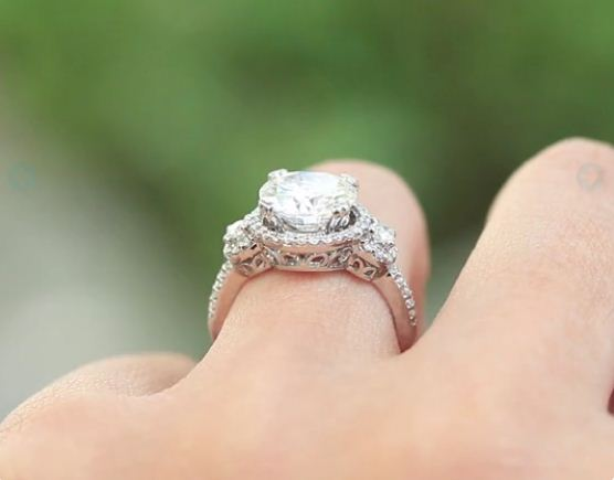 1.88Ct Real Round White Moissanite Wedding Engagement Ring Solid 14k White Gold