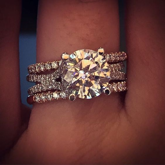 2.Ct Real Moissanite Solitaire Luxury Engagement Wedding Ring Sets 14k White Gold